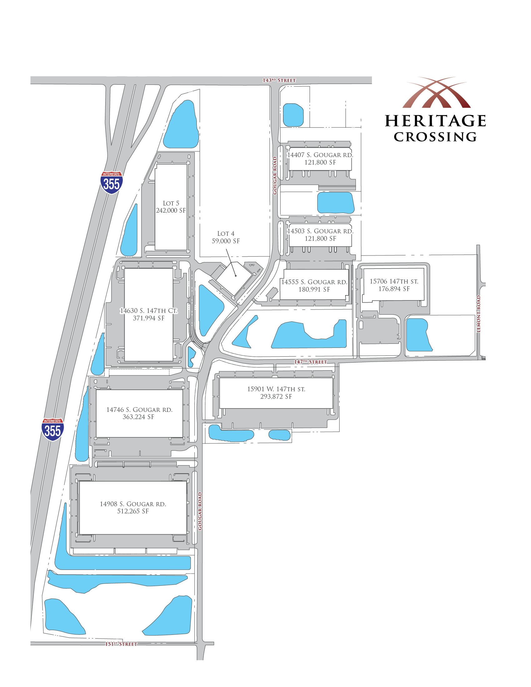 Illustrated master plan of the Heritage Crossing campus
