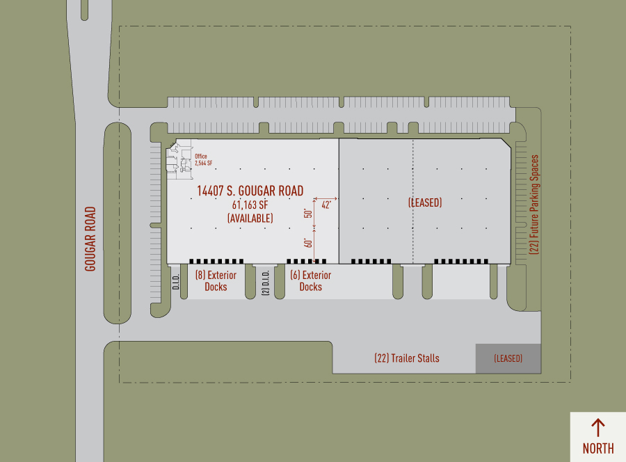 Illustrated plan of Heritage Crossing Building 1